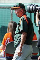 Head Coach Jim Morris #3 during a  game against the Clemson Tigers at Doug Kingsmore Stadium on March 31, 2012 in Clemson, South Carolina. The Tigers won the game 3-1. (Tony Farlow/Four Seam Images)..