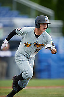 West Virginia Black Bears left fielder Garrett Brown (16) runs to first base during a game against the Batavia Muckdogs on June 25, 2017 at Dwyer Stadium in Batavia, New York.  Batavia defeated West Virginia 4-1 in nine innings of a scheduled seven inning game.  (Mike Janes/Four Seam Images)