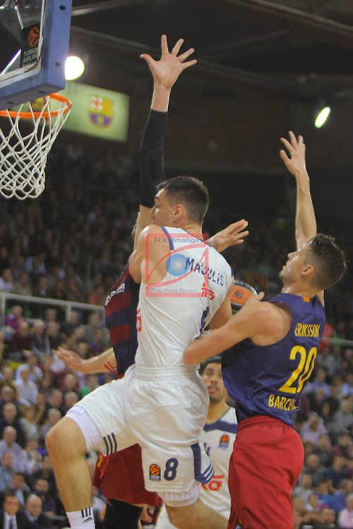 Turkish Airlines Euroleague 2016/2017.<br /> Regular Season - Round 8.<br /> FC Barcelona Lassa vs R. Madrid: 63-102.<br /> Ante Tomic, Jonas Maciulis &amp; Marcus Eriksson.