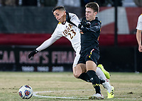 COLLEGE PARK, MD - NOVEMBER 21: Nick Richardson #22 of Maryland clashes with Francesc Chulia #23 of Iona during a game between Iona College and University of Maryland at Ludwig Field on November 21, 2019 in College Park, Maryland.
