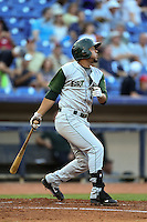 Fort Wayne TinCaps first baseman Fernando Perez (13) hits a home run during a game against the Lake County Captains on August 21, 2014 at Classic Park in Eastlake, Ohio.  Lake County defeated Fort Wayne 7-8.  (Mike Janes/Four Seam Images)