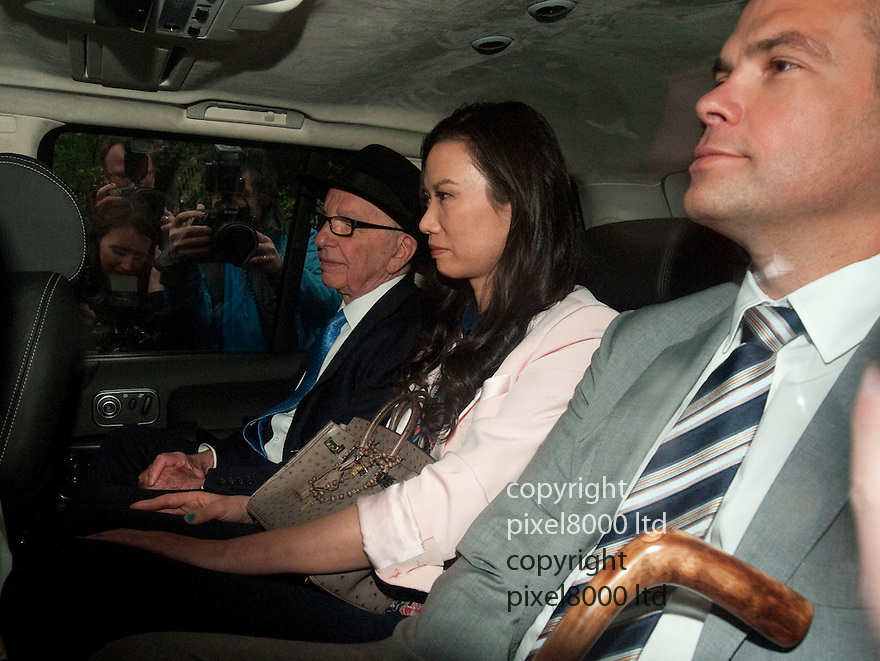Rupert Murdoch returns for second day at Leveson Inquiry.Rupert leaves with wife Wendi Deng and son Lachlan...Pic by Gavin Rodgers/Pixel 8000 Ltd