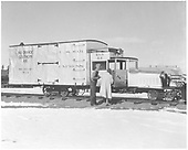 RGS Goose #2 with John and Josie Moore Crum at Richardson's Narrow Gauge Museum in South Alamosa.<br /> RGS  Alamosa, CO  Taken by Richardson, Robert W. - ca. 1953