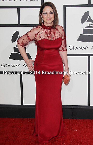 Pictured: Gloria Estefan <br /> Mandatory Credit &copy; Frederick Taylor/Broadimage<br /> 56th Annual Grammy Awards - Red Carpet<br /> <br /> 1/26/14, Los Angeles, California, United States of America<br /> <br /> Broadimage Newswire<br /> Los Angeles 1+  (310) 301-1027<br /> New York      1+  (646) 827-9134<br /> sales@broadimage.com<br /> http://www.broadimage.com
