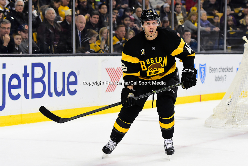 Friday, January 20, 2017: Boston Bruins center David Krejci (46) in game action during the National Hockey League game between the Chicago Blackhawks and the Boston Bruins held at TD Garden, in Boston, Mass. Chicago defeats Boston 1-0 in regulation time. Eric Canha/CSM