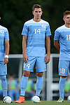 13 September 2016: North Carolina's Nils Bruening (GER). The University of North Carolina Tar Heels hosted the East Tennessee State University Buccaneers at Fetzer Field in Chapel Hill, North Carolina in a 2016 NCAA Division I Men's Soccer match. ETSU won the game 1-0 in sudden death overtime.