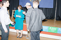 Democratic presidential candidate and Minnesota senator Amy Klobuchar greets people after speaking at a town hall campaign event at the Londonderry Senior Center in Londonderry, New Hampshire, on Wed., October 16, 2019. The event was part of a 10-county tour of New Hampshire and started the day after the 4th Democratic debate, in which analysts said Klobuchar performed well.