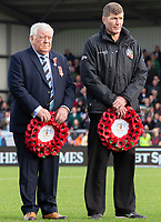 Exeter Owner Tony Rowe and Exeter Chiefs' Head Coach Rob Baxter pay their respects before the match<br /> <br /> Photographer Bob Bradford/CameraSport<br /> <br /> Premiership Rugby Cup - Exeter Chiefs v Harlequins - Saturday 10th November 2018 - Sandy Park - Exeter<br /> <br /> World Copyright &copy; 2018 CameraSport. All rights reserved. 43 Linden Ave. Countesthorpe. Leicester. England. LE8 5PG - Tel: +44 (0) 116 277 4147 - admin@camerasport.com - www.camerasport.com