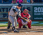 27 April 2014: San Diego Padres catcher Yasmani Grandal at bat against the Washington Nationals at Nationals Park in Washington, DC. The Padres defeated the Nationals 4-2 to to split their 4-game series. Mandatory Credit: Ed Wolfstein Photo *** RAW (NEF) Image File Available ***