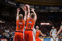 VALENCIA, SPAIN - JANUARY 6: Luke Sikma and Justin Hamilton during EUROCUP match between Valencia Basket and PAOK Thessaloniki at Fonteta Stadium on January 6, 2015 in Valencia, Spain