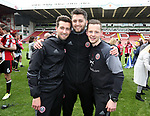 Sheffield United's Nicky Travis, Josh Farrar and Rhys Hughes celebrate during the League One match at Bramall Lane, Sheffield. Picture date: April 30th, 2017. Pic David Klein/Sportimage