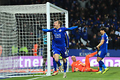 18th March 2018, King Power Stadium, Leicester, England; FA Cup football, quarter final, Leicester City versus Chelsea; Jamie Vardy of Leicester City celebrates after scoring as he makes it 1-1 in the 76th mnute from close range