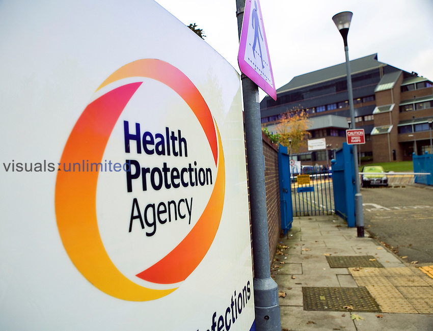 Main entrance sign board to the Health Protection Agency...The Health Protection Agency was set to in order to provide an integrated approach to protecting UK public health through the provision of support and advice to the NHS, local authorities, emergency services, other Arms Length Bodies, the Department of Health and the Devolved Administrations. In Royalty Free