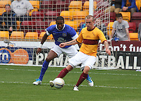 Nicky Law on the ball watched by in the Motherwell v Everton friendly match at Fir Park, Motherwell on 21.7.12 for Steven Hammell's Testimonial.