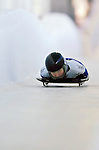 18 November 2005: Louise Corcoran of New Zealand slides down the track to take 19th place at the 2005 FIBT World Cup Women's Skeleton competition at the Verizon Sports Complex, in Lake Placid, NY. Mandatory Photo Credit: Ed Wolfstein.