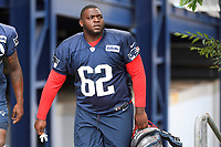 July 26, 2018: New England Patriots defensive lineman John Atkins (62) heads to practice at the New England Patriots training camp held on the practice fields at Gillette Stadium, in Foxborough, Massachusetts. Eric Canha/CSM