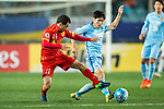 Jiangsu FC Defender Zhou Yun (R) fights for the ball with Adelaide United Forward Sergio Cirio (L) during the AFC Champions League 2017 Group H match between Jiangsu FC (CHN) vs Adelaide United (AUS) at the Nanjing Olympics Sports Center on 01 March 2017 in Nanjing, China. Photo by Marcio Rodrigo Machado / Power Sport Images