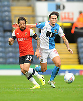 Luton Town's Jacob Butterfield under pressure from Blackburn Rovers' Lewis Travis<br /> <br /> Photographer Kevin Barnes/CameraSport<br /> <br /> The EFL Sky Bet Championship - Blackburn Rovers v Luton Town - Saturday 28th September 2019 - Ewood Park - Blackburn<br /> <br /> World Copyright © 2019 CameraSport. All rights reserved. 43 Linden Ave. Countesthorpe. Leicester. England. LE8 5PG - Tel: +44 (0) 116 277 4147 - admin@camerasport.com - www.camerasport.com