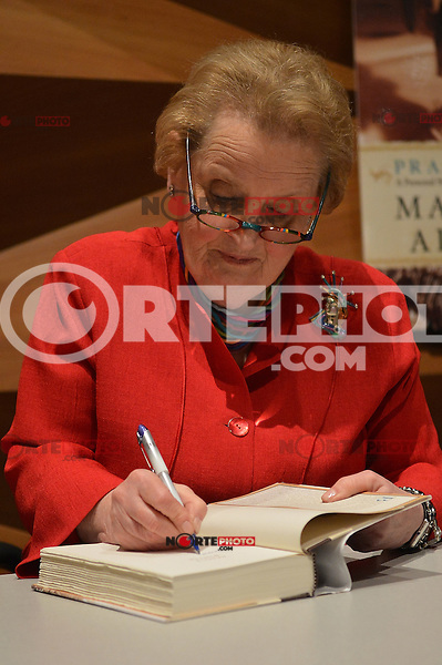 """MIAMI, FL - APRIL 30: Former Secretary of State Madeleine Albright discusses and signs her new book """"Prague Winter: A Personal Story of Remembrance and War, 1937-1948"""" Presented By Books And Books at Miami College Wolfson campus auditorium on April 30, 2012 in Miami, Florida. Credit: MPI10/MediaPunch Inc."""