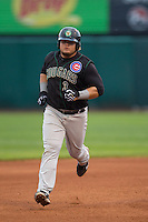 Kane County Cougars first baseman Dan Vogelbach #3 rounds the bases after hitting a home run during a game against the Cedar Rapids Kernels at Veterans Memorial Stadium on June 8, 2013 in Cedar Rapids, Iowa. (Brace Hemmelgarn/Four Seam Images)