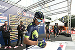 Nairo Quintana (COL) Movistar Team at sign on before the start of the 98th edition of Milano-Torino 2017, running 186km from San Giuliano Milanese (Sesto Ulteriano) to the Basilica at Superga, above the city of Turin, Milan, Italy. 5th October 2017.<br /> Picture: LaPresse/Fabio Ferrari | Cyclefile<br /> <br /> <br /> All photos usage must carry mandatory copyright credit (&copy; Cyclefile | LaPresse/Fabio Ferrari)