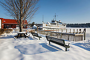 M/S Mount Washington docked in Center Harbor on Lake Winnipesaukee in New Hampshire during the winter months. Lake Winnipesaukee is the largest lake in New Hampshire.