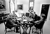 "Washington, DC - (FILE) -- United States President Bill Clinton meets with his close advisors at the White House in Washington, D.C. on Thursday, June 24, 1993.  From left to right: United States Secretary of Defense Les Aspin; President Clinton; White House Chief of Staff Thomas ""Mac"" McLarty; Counselor to the President David Gergen; and Vice President Al Gore..Credit: White House via CNP"