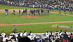 Japan team group (JPN),<br /> MARCH 21, 2017 - WBC<br /> United States players celebrate as Japan players watch from the dugout after the 2017 World Baseball Classic Semifinal game at Dodger Stadium in Los Angeles, California, United States. (Photo by AFLO)