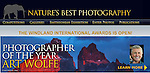 The Photographer of the Year Award 2013<br /> Nature's Best Photography  offers this prestigious acknowledgement annually to a single photographer or photo team whose body of work has consistently engaged the public through the power of photography and multi-media presentations. This Award is a part of the Nature's Best Photography Windland Smith Rice International Awards and the winner's images are displayed in the exhibition at the Smithsonian National Museum of Natural History and in the NBP magazines. <br />  <br /> <br /> 2013 WINNER | ART WOLFE