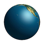 View of the Earth globe from space showing the Pacific ocean and a part of North American continent. Isolated on white background.