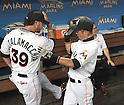 (L-R) Jarrod Saltalamacchia, Ichiro Suzuki (Marlins),<br /> APRIL 8, 2015 - MLB :<br /> Jarrod Saltalamacchia and Ichiro Suzuki of the Miami Marlins in the dugout before the Major League Baseball game against the Atlanta Braves at Marlins Park in Miami, Florida, United States. (Photo by AFLO)