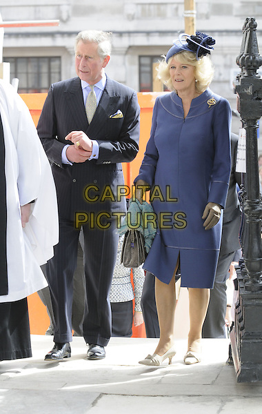 HRH PRINCE CHARLES of Wales & CAMILLA, Duchess Of Cornwall.At a service of Thanksgiving for the renewal of St. Martin-in-the-Fields Church in London, England, .April 28, 2008..full length royal The Prince Of Wales blue hat jacket suit tie married couple husband wife coat dress bag handbag.CAP/DH.©David Hitchens/Capital Pictures