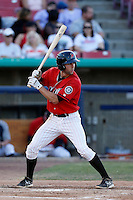 Chris Taylor #26 of the High Desert Mavericks bats against the Stockton Ports at Stater Bros. Stadium on April 27, 2013 in Adelanto, California. Stockton defeated High Desert, 17-7. (Larry Goren/Four Seam Images)