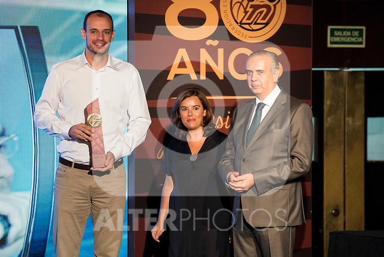 Carlos Jimenez during the 80th Aniversary of the National Basketball Team at Melia Castilla Hotel, Spain, September 01, 2015. <br /> (ALTERPHOTOS/BorjaB.Hojas)