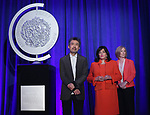 Chairman of the American Theatre Wing David Henry Hwang, President of The Broadway League Charlotte St. Martin, President of the American Theatre Wing Heather Hitchens on stage during the 2017 Tony Awards Nominations Announcement at The New York Public Library for the Performing Arts on May 2, 2017 in New York City