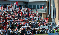 26 March 2011: The Toronto FC fans brave the cold weather and show their support during an MLS game between the Portland Timbers and the Toronto FC at BMO Field in Toronto, Ontario Canada..Toronto FC won 2-0....