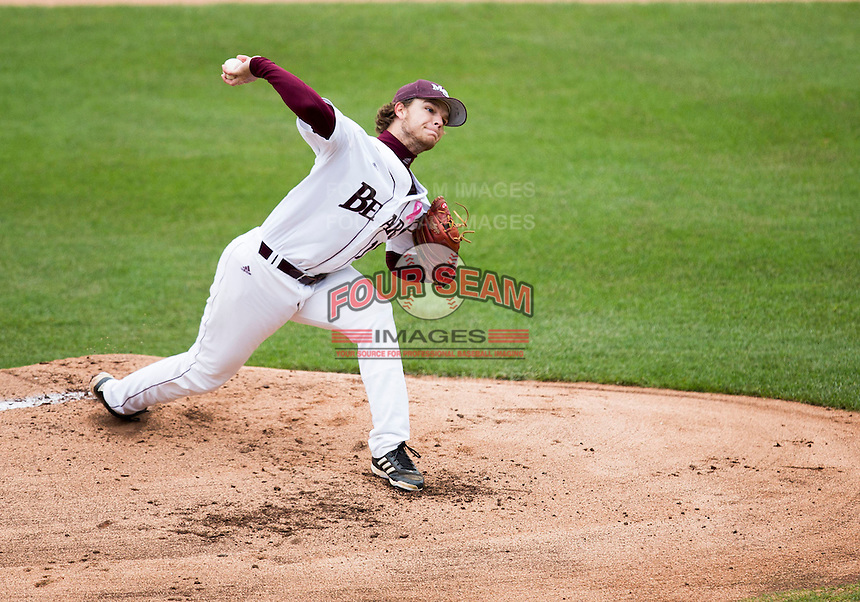 Nick Petree #10 of the Missouri State Bears delivers a pitch during a game against the Wichita State Shockers at Hammons Field on May 4, 2013 in Springfield, Missouri. (David Welker/Four Seam Images)