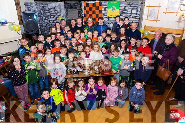 Great success for the Sneem/Derrynane underage footballers, pictured here in Staigue Fort on Sunday night with mentors, managers and guest of honor Kerry Minor Captain David Clifford.