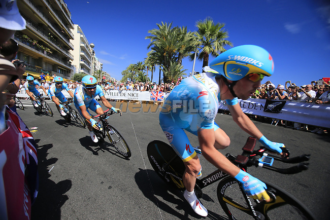 Astana Team in action during Stage 4 of the 100th Edition of the Tour de France 2013 a 25k Team Time Trial around Nice. 2nd July 2013.<br /> (Photo: Eoin Clarke/ www.newsfile.ie)