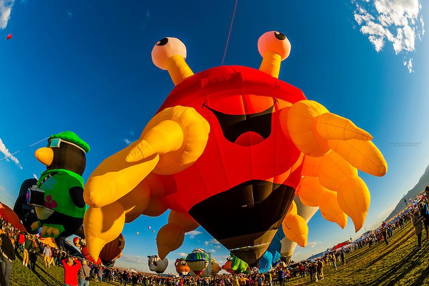 """Special shape balloon called """"Crazy Crab"""", Albuquerque International Balloon Fiesta, Albuquerque, New Mexico USA."""