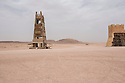 Morocco - Ouarzazate - A catapult and the tower of a prop castle within CLA Studios, in Ouarzazate. The castle was used in several well-known movies and TV series, including Game of Thrones, Rydley Scott's Kingdom of Heaven and The New Adventures of Aladin.