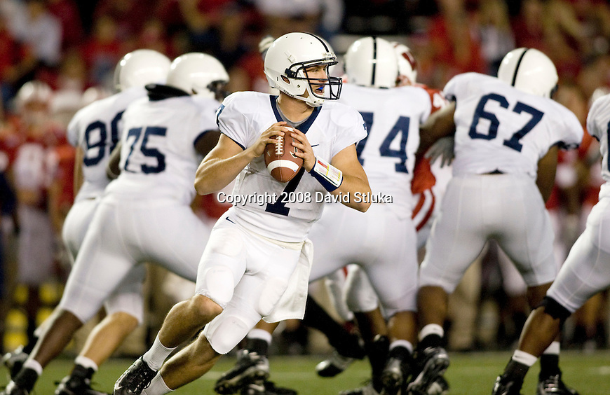 MADISON, WI - OCTOBER 11: Quarterback Pat Devlin #7 of the Penn State Nittany Lions looks for a receiver against the Wisconsin Badgers at Camp Randall Stadium on October 11, 2008 in Madison, Wisconsin. The Nittany Lions beat the Badgers 48-7. (Photo by David Stluka)