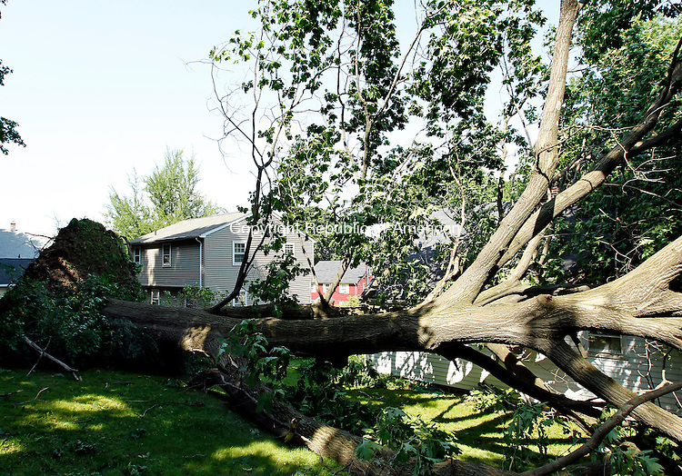 Naugatuck, CT-27, May 2010-052710CM02  A recent storm is suspected of uprooting this tree on a Woodlawn Ave home in Naugatuck. Work crews are expected to remove the tree sometime today.  --Christopher Massa Republican-American
