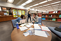 Lexie Reinhold '22 and Peter Bird '21 study for their Spanish final near the main entrance<br /> Occidental College students study for finals and write papers during finals week in the Academic Commons/Mary Norton Clapp Library, Monday afternoon, Dec. 10, 2018.<br /> (Photo by Marc Campos, Occidental College Photographer)