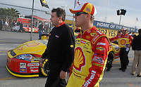 Feb 11, 2007; Daytona, FL, USA; Nascar Nextel Cup driver Kevin Harvick (29) with crew chief Todd Berrier during qualifying for the Daytona 500 at Daytona International Speedway. Mandatory Credit: Mark J. Rebilas
