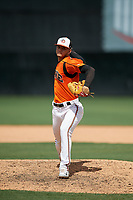 Bowie Baysox pitcher Cristian Alvarado (32) during an Eastern League game against the Binghamton Rumble Ponies on August 21, 2019 at Prince George's Stadium in Bowie, Maryland.  Bowie defeated Binghamton 7-6 in ten innings.  (Mike Janes/Four Seam Images)