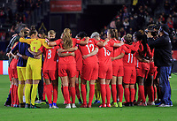CARSON, CA - FEBRUARY 07: The Women's national team of Canada celebrate their win over Costa Rica and book a trip to the 2020 Tokyo Olympics during a game between Canada and Costa Rica at Dignity Health Sports Park on February 07, 2020 in Carson, California.