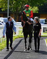 Winner of The British Stallion Studs EBF Margadale Fillies Handicap, Billesdon Bess ridden by Hollie Doyle are led into the winners enclosure during Afternoon Racing at Salisbury Racecourse on 13th June 2017