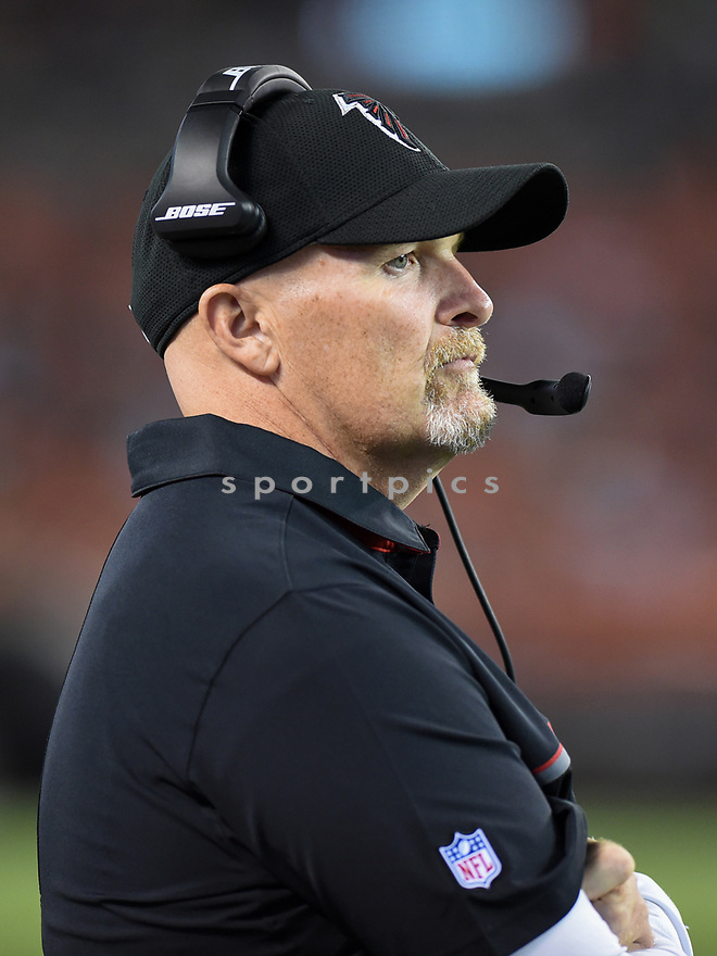 CLEVELAND, OH - AUGUST 18, 2016: Head coach Dan Quinn of the Atlanta Falcons watches the action from the sideline in the fourth quarter of a preseason game on August 18, 2016 against the Cleveland Browns at FirstEnergy Stadium in Cleveland, Ohio. Atlanta won 24-13. (Photo by: 2016 Nick Cammett/Diamond Images) *** Local Caption *** Dan Quinn