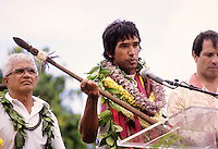 "Left to right: Myron ""Pinky"" Thompson, Nainoa Thompson and Bob Worthington at the Hokule'a homecoming ceremonies, ""Voyage of Re-Discovery,"" Kualoa, O'ahu, May 28, 1987."